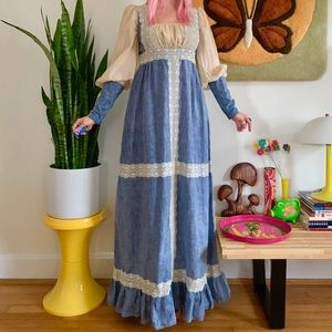 Vintage 70s Gunne Sax black label medieval dress